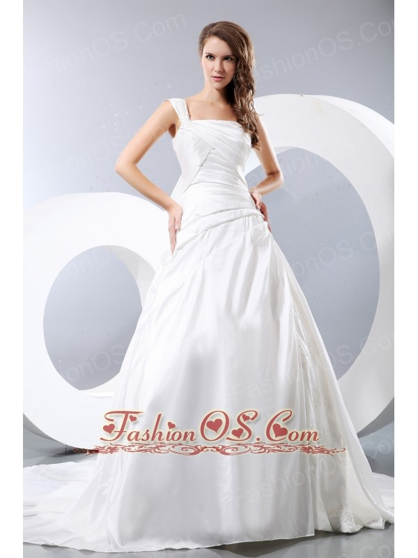 Luxurious a line one shoulder low cost wedding dress for Wedding dresses low cost
