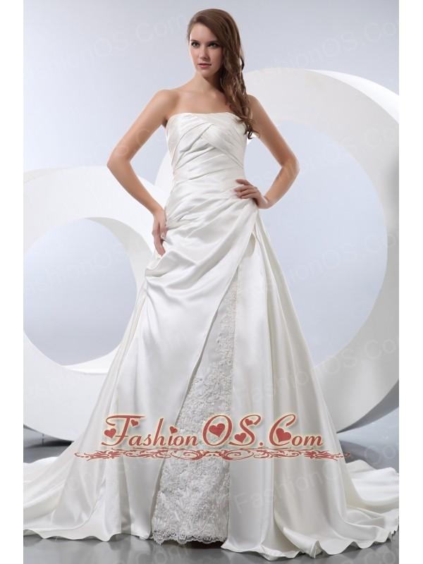 Luxurious A-line Strapless Chapel Train Satin Ruch Wedding Dress