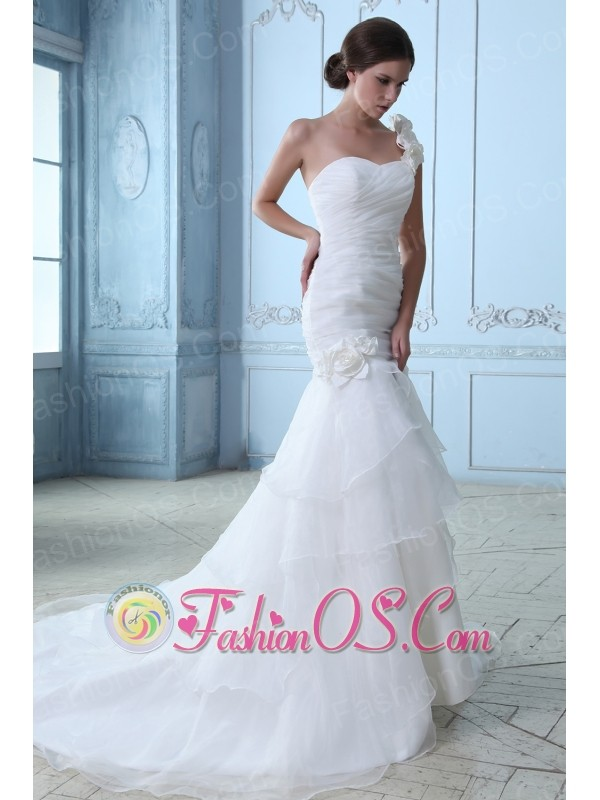 Modest A-line One Shoulder Ruch and Hand Made Flowers Wedding Dress Court Train Organza