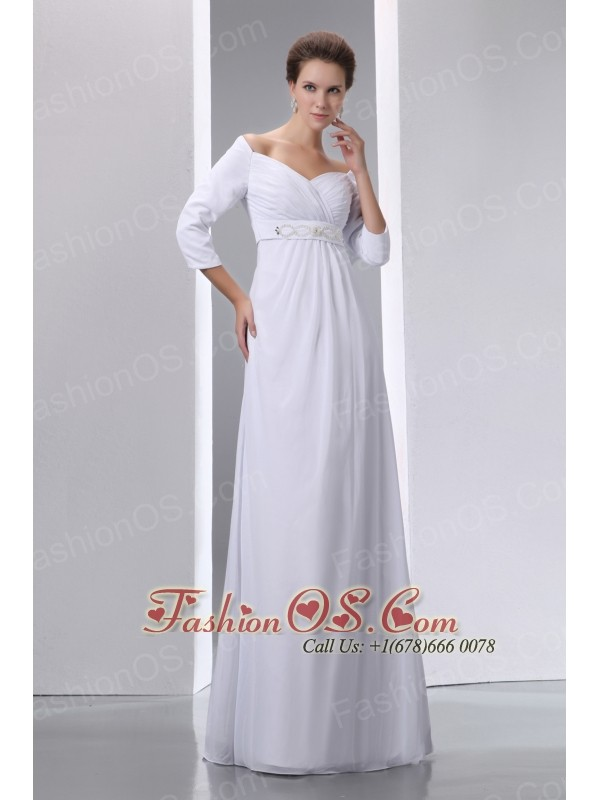 Popular Empire Off The Shoulder Plus Size Wedding Dress Floor-length Chiffon Beading and Ruch