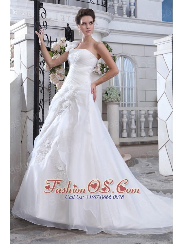 Pretty A Line One Shoulder Low Cost Wedding Dress Court Train Organza Ruch An