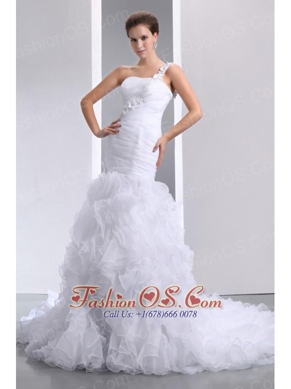 Romantic Mermaid One Shoulder Hand Made Flowers and Ruffles Wedding Dress Court Train Organza