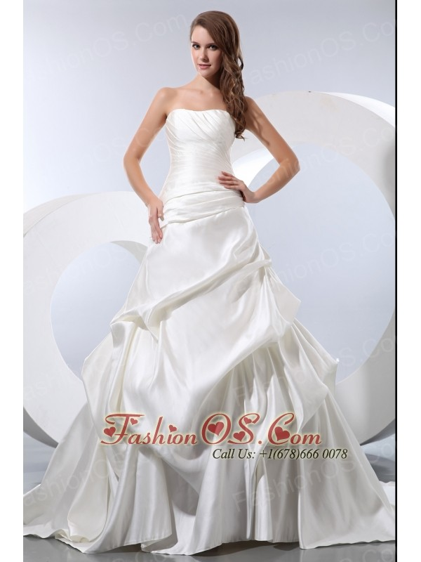 Simple A Line Strapless Low Cost Wedding Dress Chapel Train Satin And Taffeta