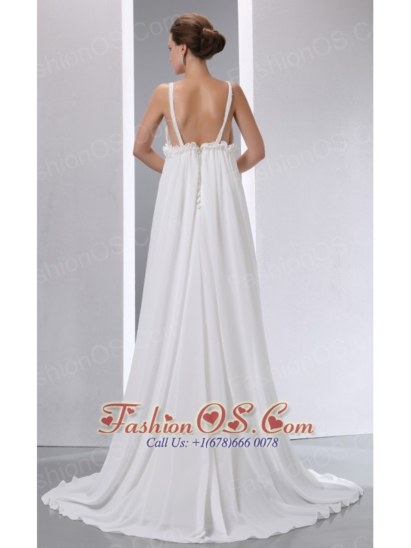 Simple A-line V-neck Maternity Wedding Dress Brush Train Chiffon Beading