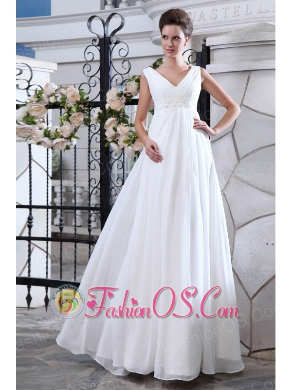 Simple A-line V-neck Maternity Wedding Dress Chiffon Ruch and Appliques Floor-length