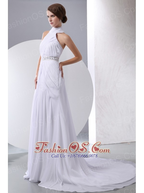 Simple Column Halter Beading and Ruch Wedding Dress Chapel Train Chiffon