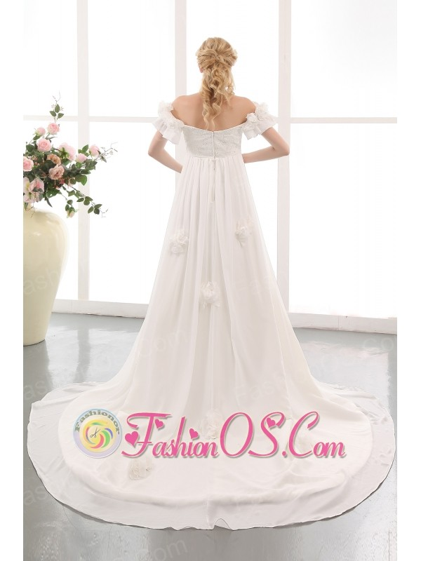 Simple Empire Off The Shoulder Maternity Wedding Dress Chiffon Lace and Hand Made Flowers Chapel Train