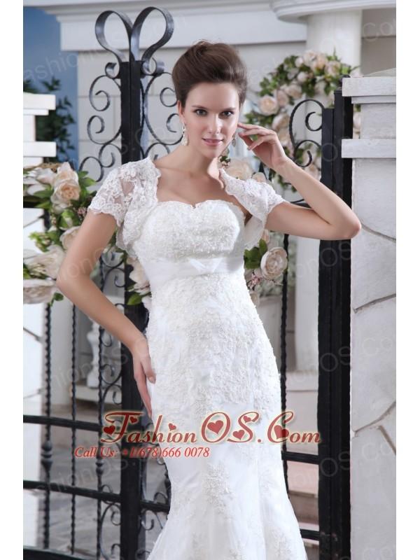 Simple Wedding Dress Mermaid Belt Strapless Court Train Lace