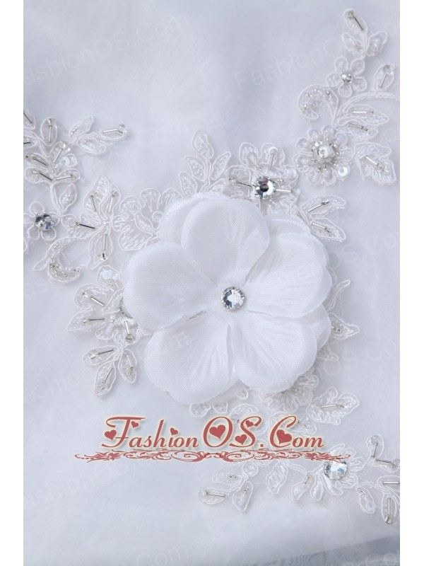 Sweet A-line Sweetheart Low Cost Wedding Dress Court Train Organza Beading and Appliques