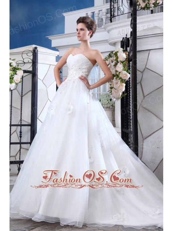 Sweet A Line Sweetheart Low Cost Wedding Dress Court Train Organza Beading An