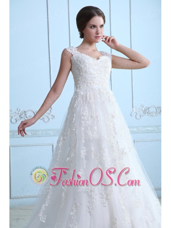 Vintage A-line V-neck Maternity Wedding Dress Tulle Lace Court Train