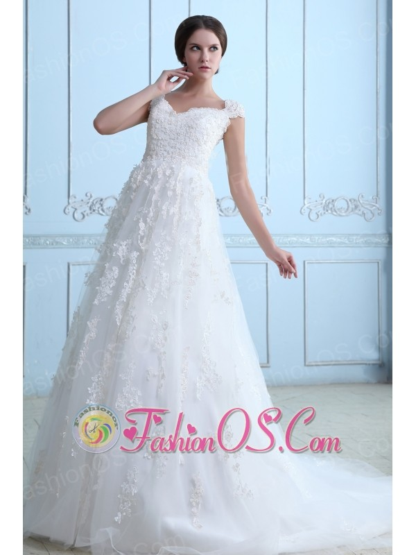 Vintage A-line V-neck Maternity Wedding Dress Tulle Lace Court Train ...