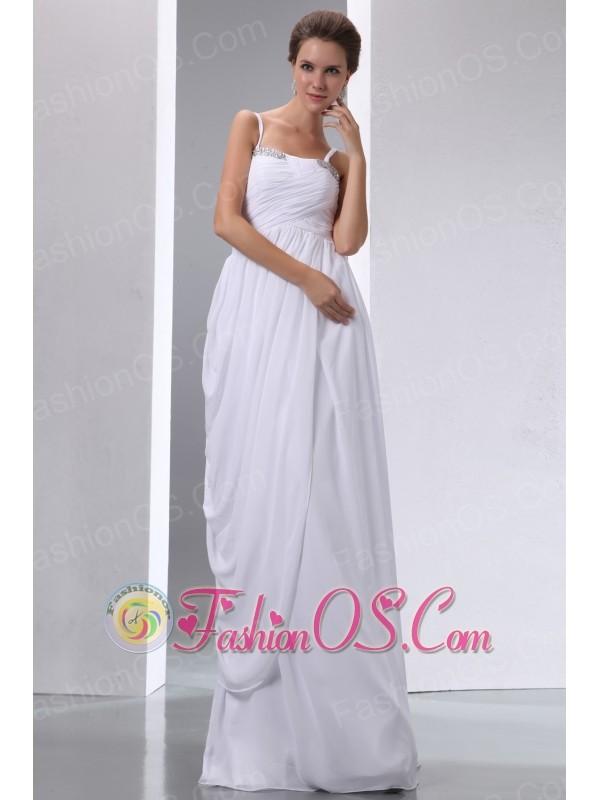 White Column Spaghetti Straps Maternity Wedding Dress Chiffon Beading and Ruch Floor-length