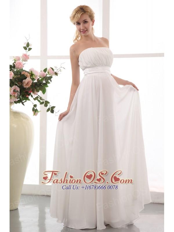 White Empire Strapless Maternity Wedding Dress Floor-length Chiffon Ruch