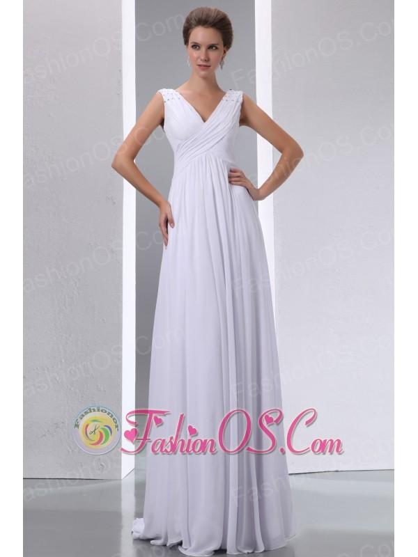 White Empire V-neck Maternity Wedding Dress Chiffon Beading and Ruch Floor-length