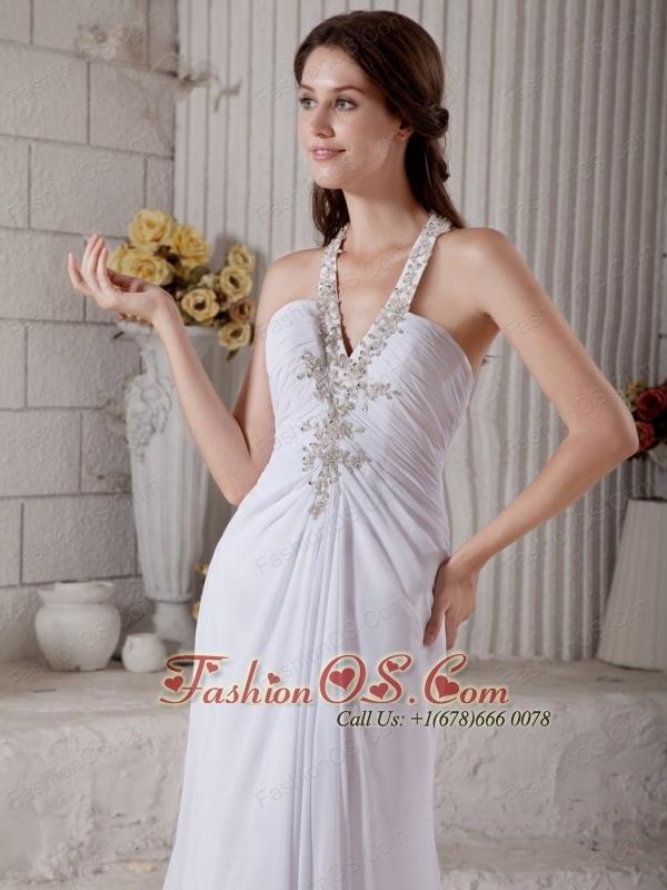 Custom Made Column V-neck Beach Wedding Dress Brush Train Chiffon Beading