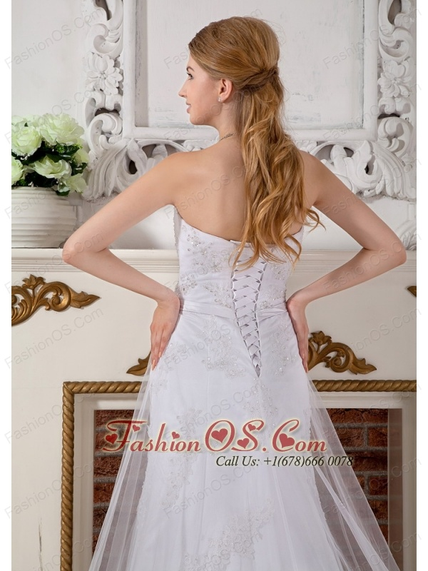 Custom Made Empire Sweetheart Lace Wedding Dress Cathedral Train Beading
