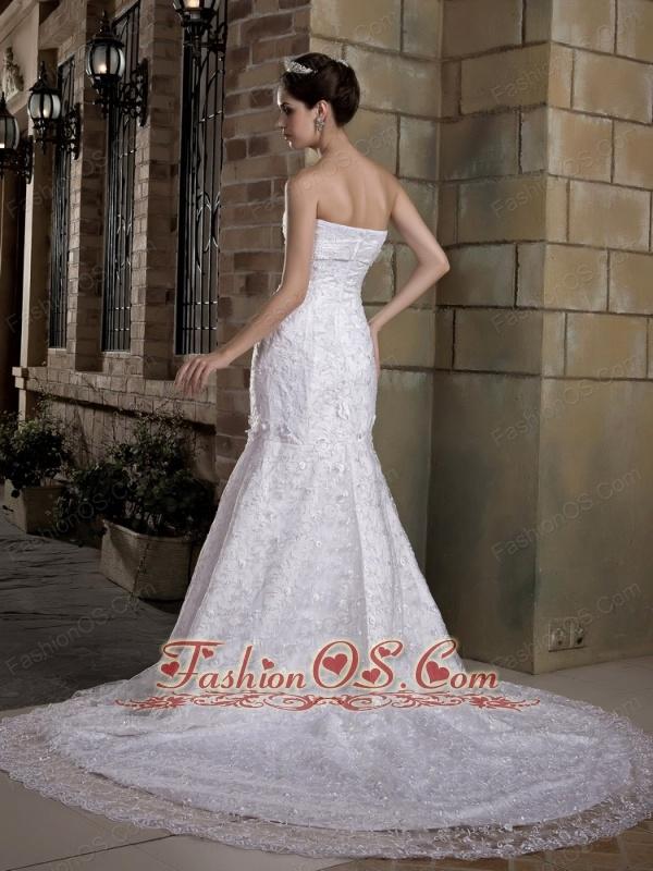 Custom Made Mermaid Strapless Lace Wedding Dress Chapel Train Taffeta and  Beading