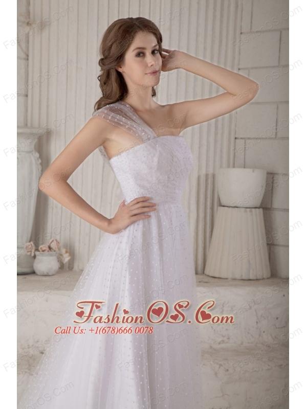 Custom Made Wedding Dress A-line / Princess One Shoulder Court Train Special Fabric