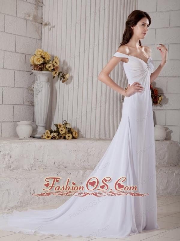 Custom Made Wedding Dress A-line Off The Shoulder Beading Court Train Chiffon