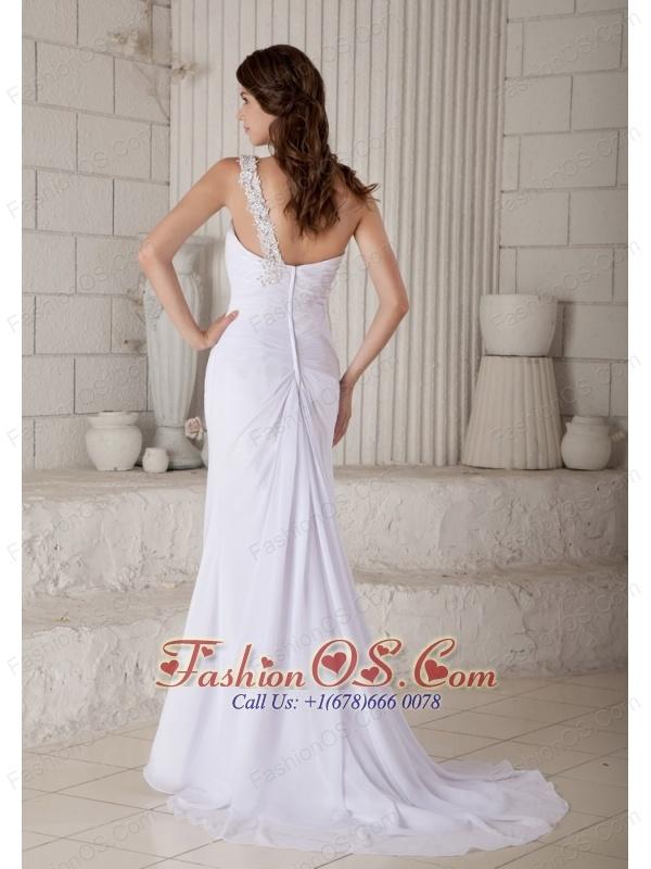 Custom Made Wedding Dress Column / Sheath One Shoulder Beading Brush Train Chiffon