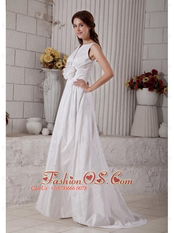 Customize A-line Bateau Wedding Dress Brush Train Taffeta Hand Made Flower