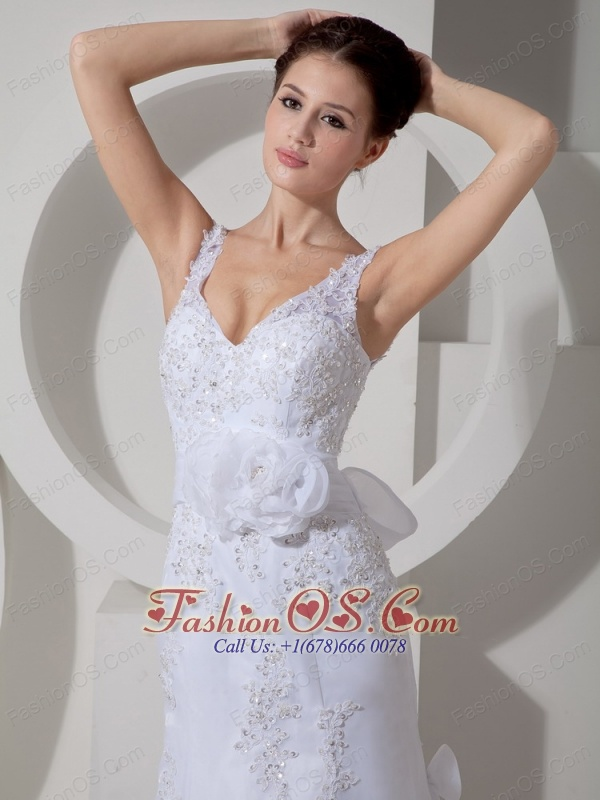 Customize Column V-neck Wedding Dress Court Train Satin Sash