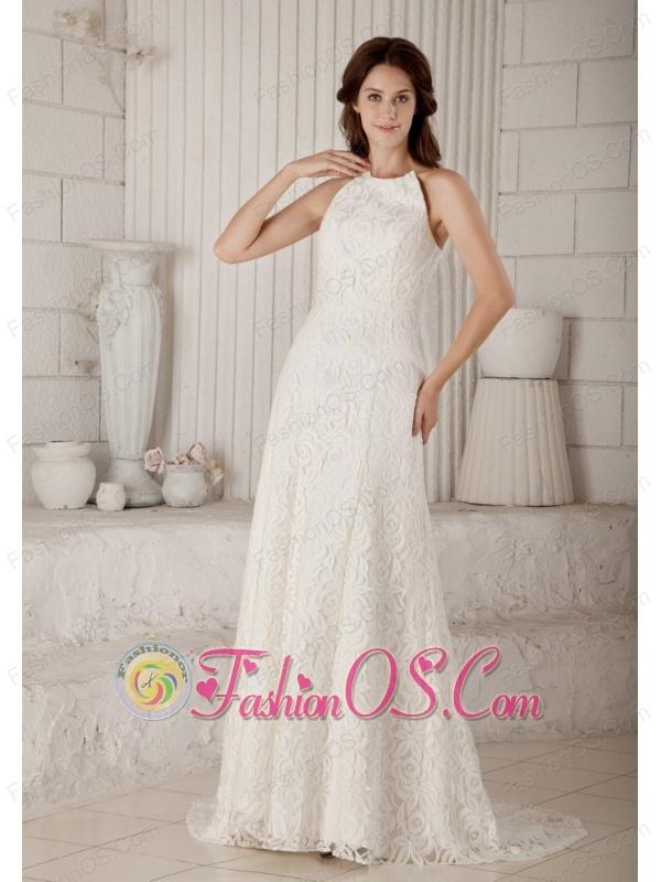 Customize Column Wedding Dress Brush Train Lace