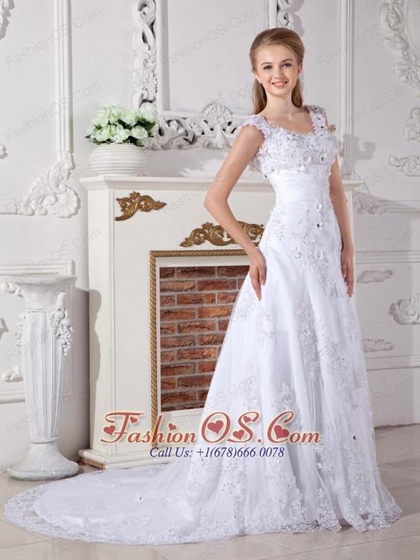 Discount A-line Scoop Lace Wedding Dress Court Train Appliques