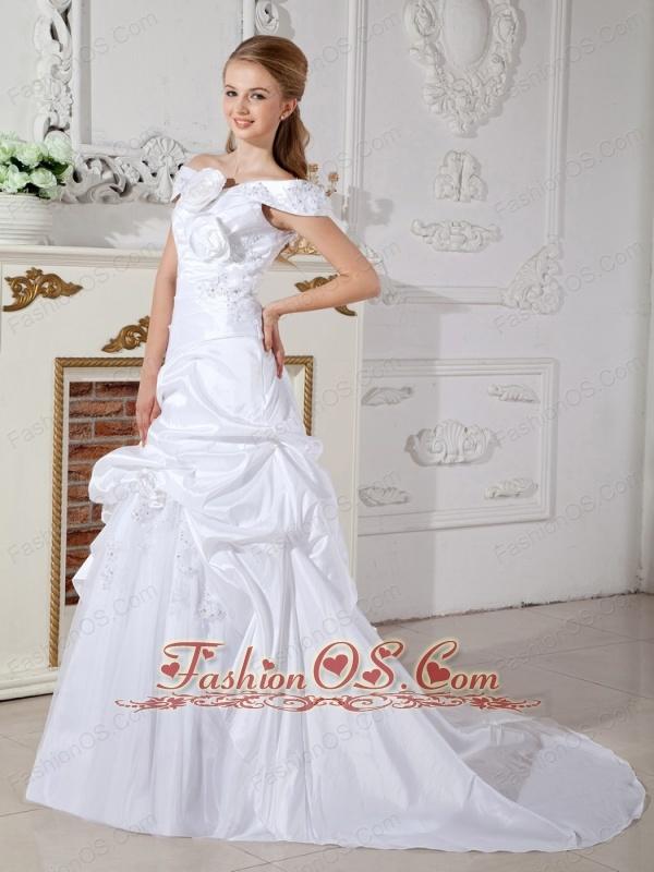 Elegant A-line Off The Shoulder Wedding Dress Court Train Taffeta Hand Made Flowers