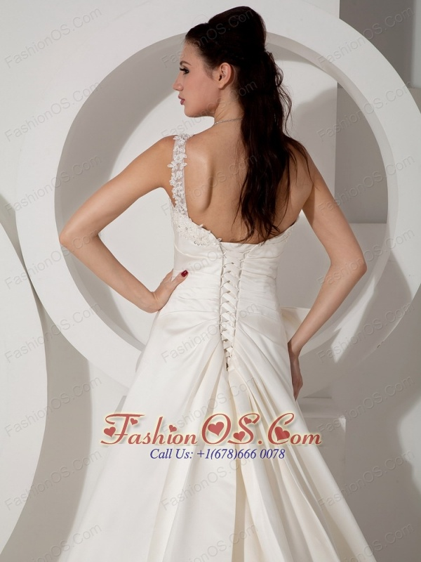 Informal A-line Wedding Dress One Shoulder Appliques and Ruch Court Train Satin