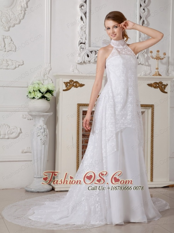 Lovely A-line High-neck Muslim Wedding Dress Court Train Lace and Chiffon Bowknot