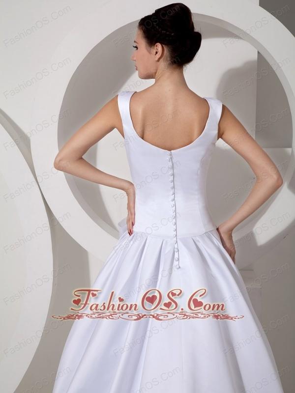 Low Price Wedding Dress A-line Scoop Court Train Satin Sash