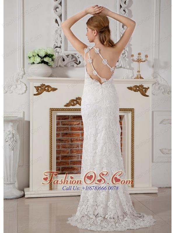 Perfect Column One Shoulder Lace Wedding Dress Brush Train