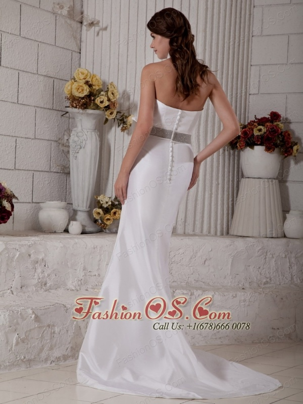 Simple Wedding Dress Mermaid Halter Brush Train Satin Bow