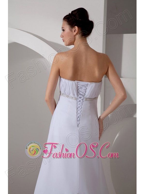 Best Column Sweetheart Wedding Dress Court Train Chiffon Appliques