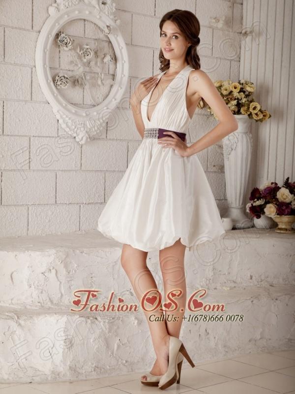 Brand New A-line / Princess V-neck Short Wedding Dress Taffeta Beading Mini-length