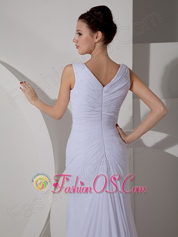 Custom Made Column V-neck Wedding Dress Court Train Chiffon Ruch