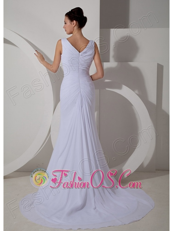 Custom Made Column V-neck Wedding Dress Court Train Chiffon Ruch