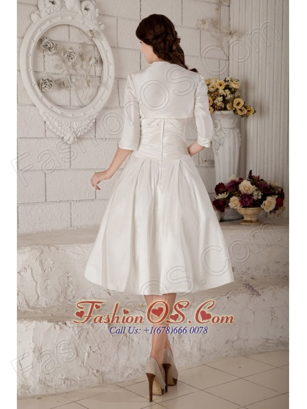 Customize A-line / Princess Short Wedding Dress Strapless Satin Ruch  Knee-length