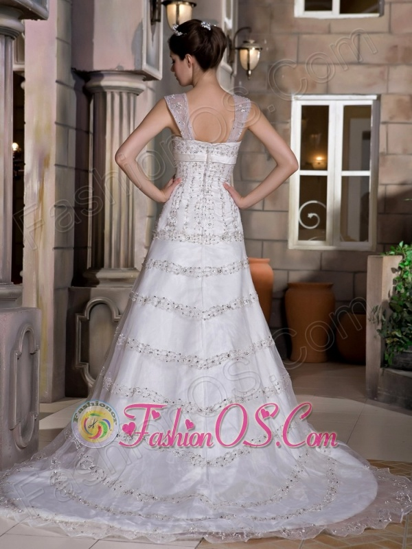 Customize A-line Straps Wedding Dress Court Train Taffeta and Lace Beading