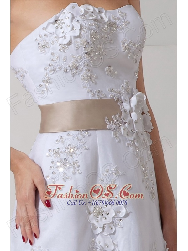 Customize Column Strapless Wedding Dress Court Train Satin Lace Belt