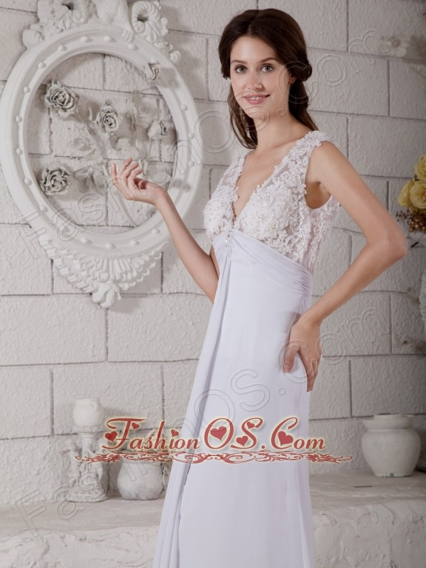 Customize Empire V-neck Lace Wedding Dress Brush Train Chiffon