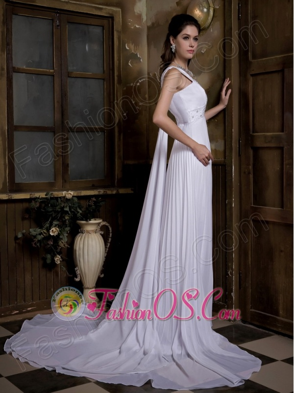 Customize Empire V-neck Wedding Dress Watteau Train Taffeta and Chiffon Pleat and Beading
