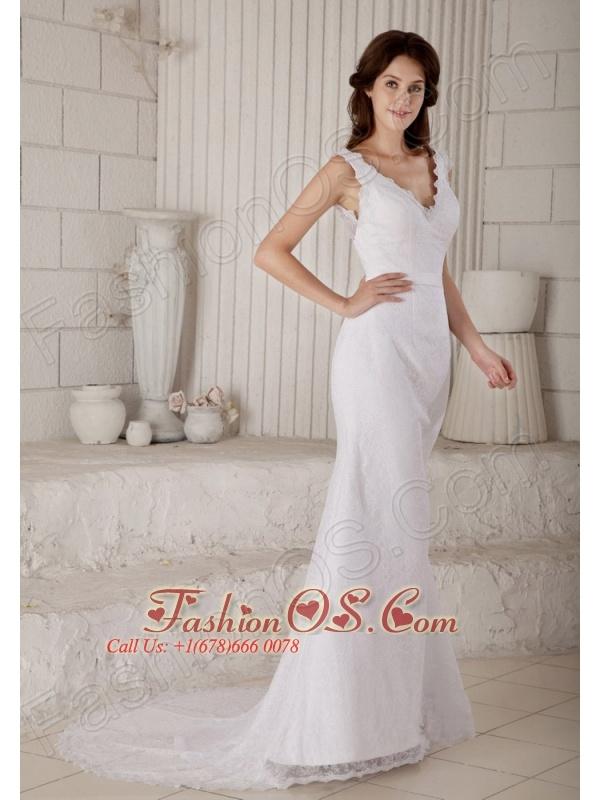 Customize Mermaid V-neck Wedding Dress Court Train Lace