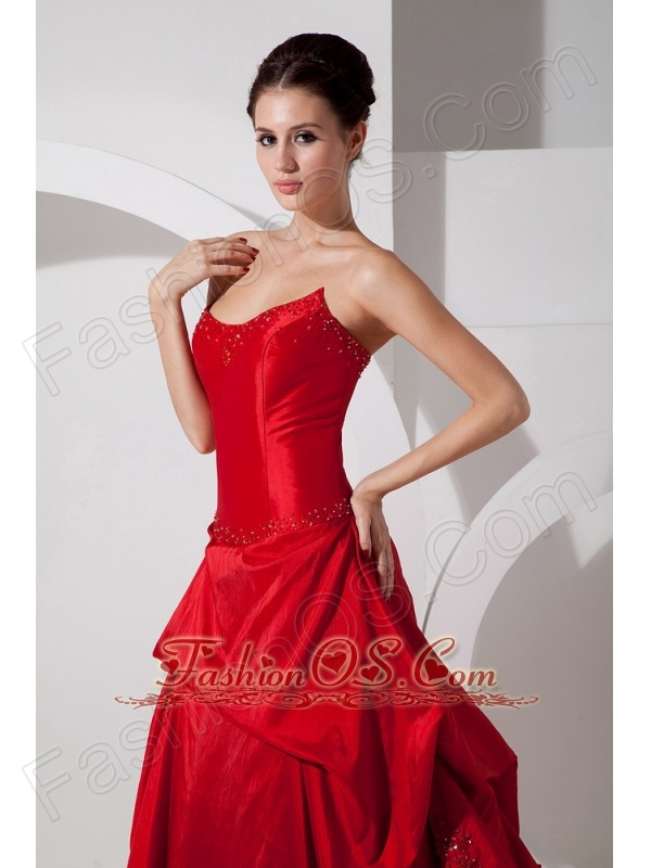 Customize Red A-line Strapless Wedding Dress Court Train Taffeta and Organza Appliques