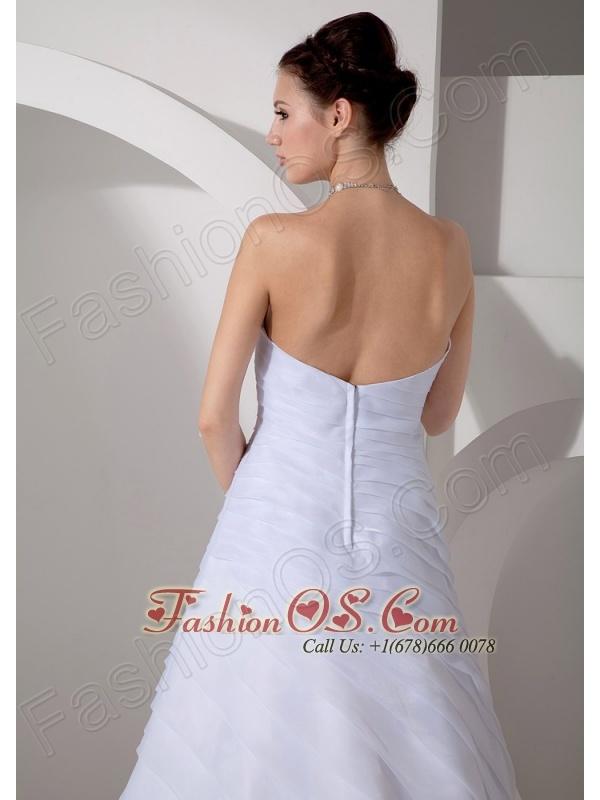 Customize Wedding Dress A-line Sweetheart Ruch Court Train Chiffon