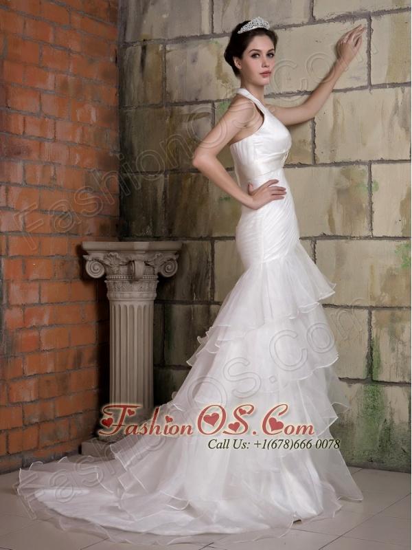 Customize Wedding Dress Mermaid Halter Beading Court Train Taffeta and Organza