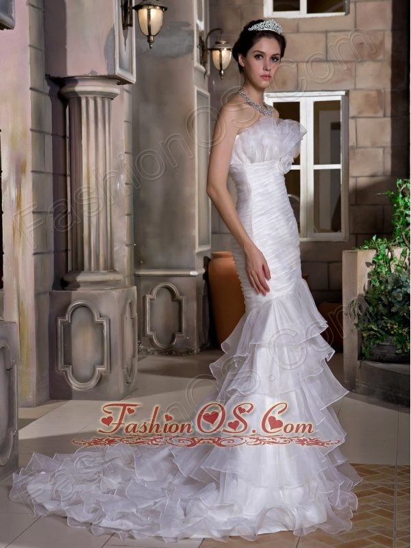 Exquisite Wedding Dress Mermaid Strapless Ruch and Ruffles Court Train Taffeta and Organza