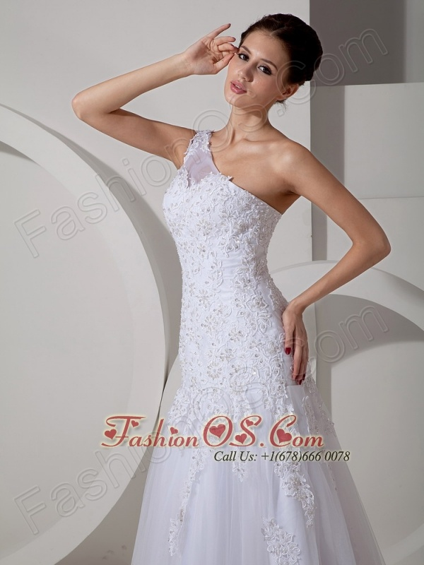 Lovely Wedding Dress A-line One Shoulder Court Train Tulle Lace